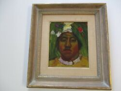 Charles Gus Mager Oil Painting Native American Indian Tribal Portrait Modernism