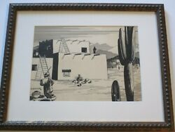 Antique Painting Drawing Art Deco Native American Indian Adobe Landscape Weimer