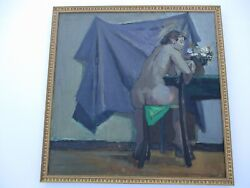 Antique Large Oil Painting Impressionist Nude Woman Pretty Female Model 1930's