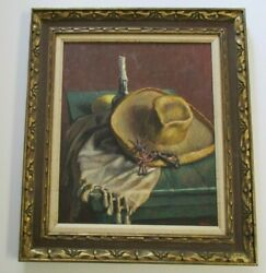 Large Oil Painting Foster Caddell Still Life Mexican Rusty Spurs Old Hat Cowboy
