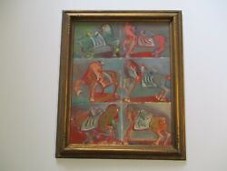 Unsigned Anders Aldrin Oil Painting 1940's Antique Modernist Abstract Horses