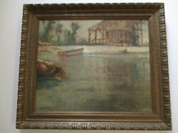 George Colman Painting Antique Early American California Illinois Nautical Boat