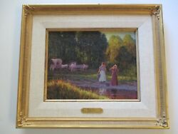 Gregory Sievers Oil Painting Western Pioneer Landscape Sunset Horses Famous