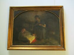 Antique Painting Masterful Leon Saubes French Impressionist 19th Century Mother