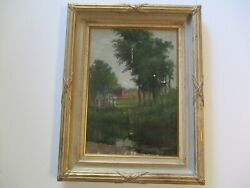 Charles Grant Oil Painting Antique American Plein Air Landscape For Restoration