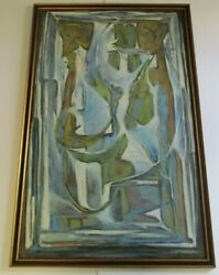 Rare Emil Kosa Jr Painting Mid Century Modern Abstract Expressionism Large 1950