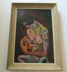 La Rosa Oil Painting Large Vintage Abstract Pointillist Cubism Nude Icon Mother