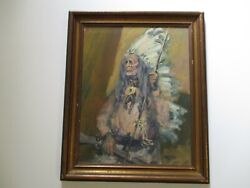 Valtos Vintage Native American Indian Portrait Tribal Chief Peace Pipe And Rifle