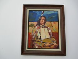 Neil Boyle Original Painting Native American Indian Portrait Chief 20 Inches