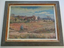 Antique Oil Painting 1930's Impressionist Mexico Old Mission Church Desert
