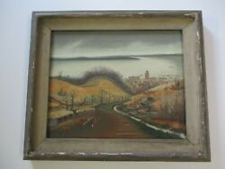 Antique Painting Vintage Wpa Style American Regionalism Farm And Coastal View