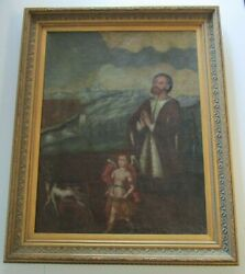 Antique Old Master Painting Large Religious Icon 18th Century Relic Portrait