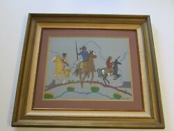 Arthur C Begay Sr Original Painting Authentic Native American Indians With Rifle