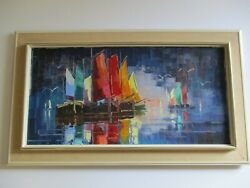 Vintage Nautical Painting Colorful Abstract Expressionism Seascape Modernism