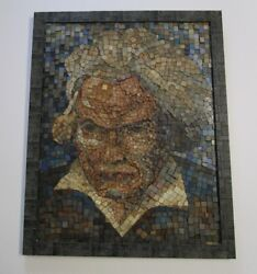 Antique Mosaic Mid Century Modern Portrait Musician Beethoven Abstract 1950's