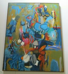 Large Sherman Signed 1970and039s Abstract Painting Modernism Vintage Expressionism