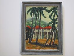 Glass Signed Painting 1930's African American Black Americana Landscape Tropical