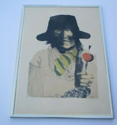 Leonard Baskin Lithograph Hand Pencil Signed Rare Abstract Expressionism Indian