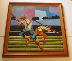 Large Vintage Painting Abstract Expressionism Mexican Farmers Workers Landscape