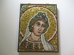 Antique Mosaic Tile Portrait Modernist 19th To 20th Century Mystery Iconic