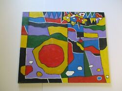 Large 36 Gerald Rowles Painting Expressionist Cubist Abstract Modernist Cubism