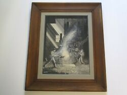 Antique American Painting Drawing Industrial Construction Regionalism Wpa Era