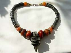 Antique Berber Moroccan Perfume Ring Necklace, Resin Amber, Carnelian, Old Glass