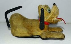 """Scarce Ex Disney 1950's """"mechanical Begging Rollover Pluto"""" Wind Up Toy-linemar"""