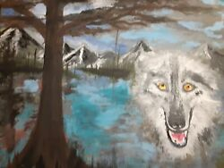 Art Paintings Wolf In The Mountain , Original Nice Unique