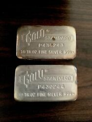 Engelhard Silver Bars Gold Standard 10 Oz - 2 Sequentially And039d Rare Poured Bars