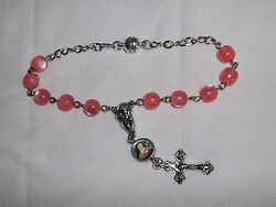 Car Auto Rear View Mirror Rosary, 8mm Pink Resin Car Rosary, Rosary Bracelet