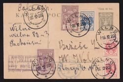 Central Lithuania 1920 Regist Postcard With Revenue Stamps Genuine +certificate