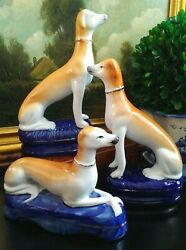 Stately Trio English Staffordshire Style Fox Hunt Hound Whippet Mantle Dogs