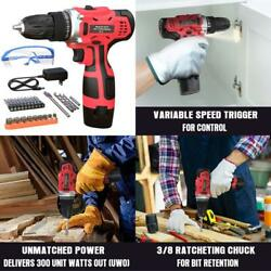 Cordless Drill With Battery And Charger Impact Driver Kit Combo Set