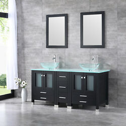 60 Bathroom Vanity Wood Cabinet Glass Top Clear Tempered Glass Sink W/mirror