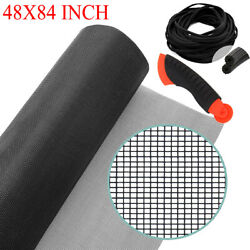 48 X 84 Charcoal Fiberglass Window Porch And Patio Screen Door Mesh Roll Net