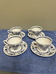 Classic J And G Meakin Blue Nordic Onion Design Set Of 4 Coffee Cups And Saucers