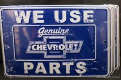 Wholesale Lot Of 6 Chevrolet Signs Metal Tin We Use Chevy Parts Gm Made In Usa