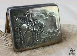 1920s Russian Moscow Silver And Amethyst Knight At Crossroads Cigarette Vesta Case