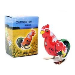 Wind Up Rooster Tin Toy Hopping Moving Bird Vintage Style Retro Litho New In Box