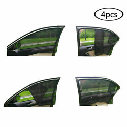 4pcs Magnetic Car Sun Shade Uv Protection Front+rear Side Window Curtain Black