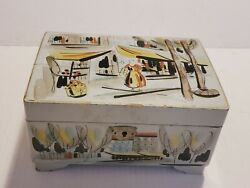 Antique Japanese Lacquer Musical Jewlery Box Handpainted