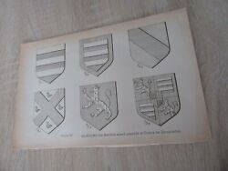 Original Engraving 1899 Coat Of Arms Of Sylvanian Keahou Possessed The Castle
