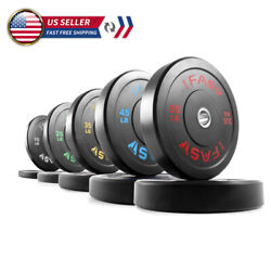 Olympic Rubber Barbell Weight Plates 10lb/25lb/35lb/45lb Bumper Plates Workout