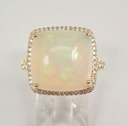 14k Yellow Gold 8.44 Ct Cushion Cut Opal And Diamond Halo Engagement Ring Size 7