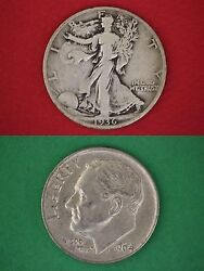 Make Offer 10.00 Face 90 Silver Roosevelt Dimes And Walking Liberty Half Dollars