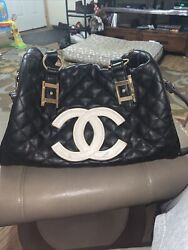 Chanel Bag Black Quilted Leather Bag White Logo $450.00