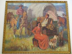Large Old Western Painting American Settlers Wagon Horse Portrait Listed Fulpen