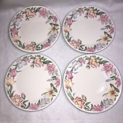 4 Royal Doulton Blooms 8andrdquo Salad Plates Expressions Pink Lavender Yellow Flowers