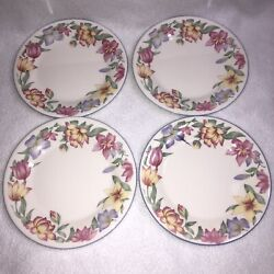 4 Royal Doulton Blooms Bread And Butter Plates Expressions Pink Lavender Flowers